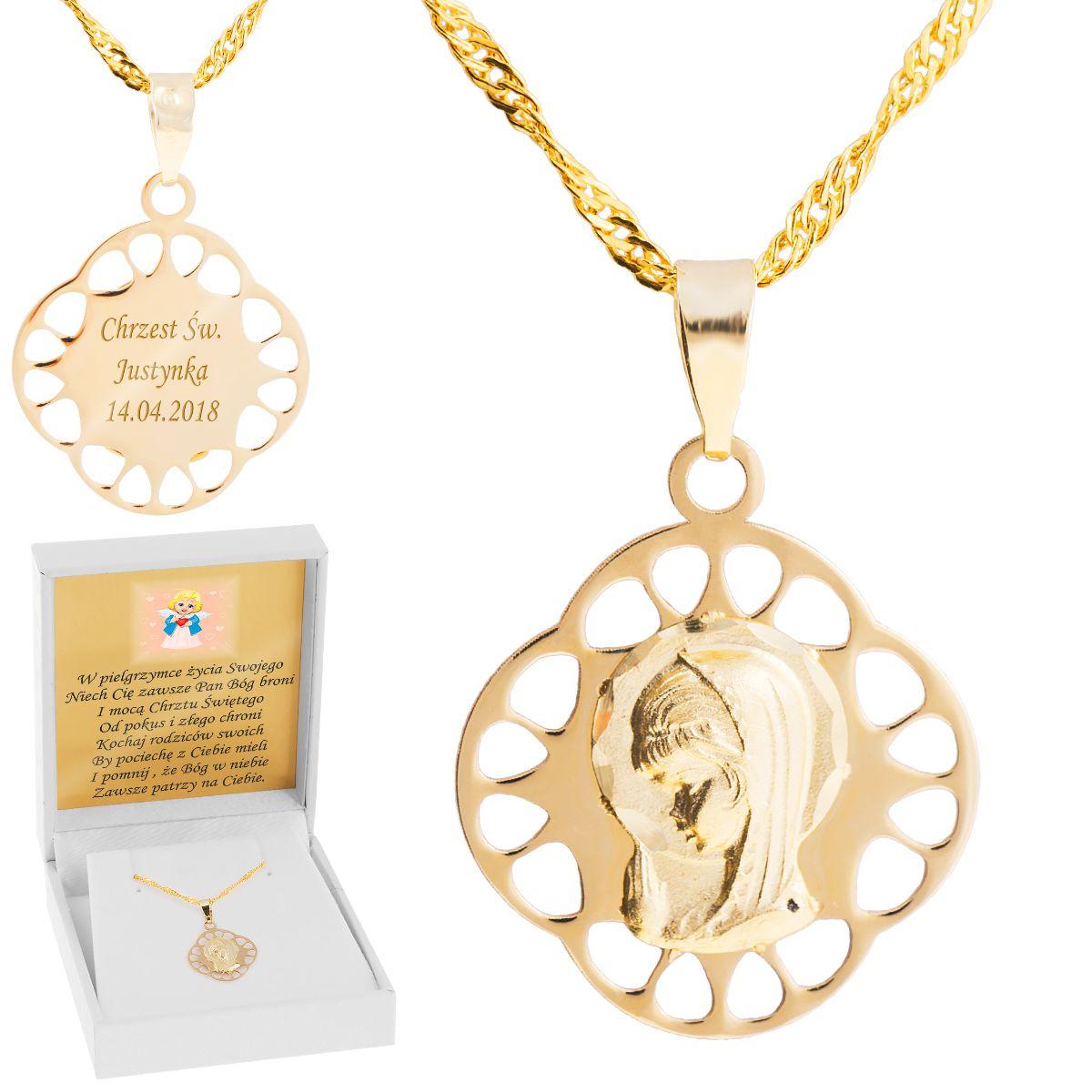 Zloty Medalik Z Lancuszkiem Matka Boska 585 Grawer With Images