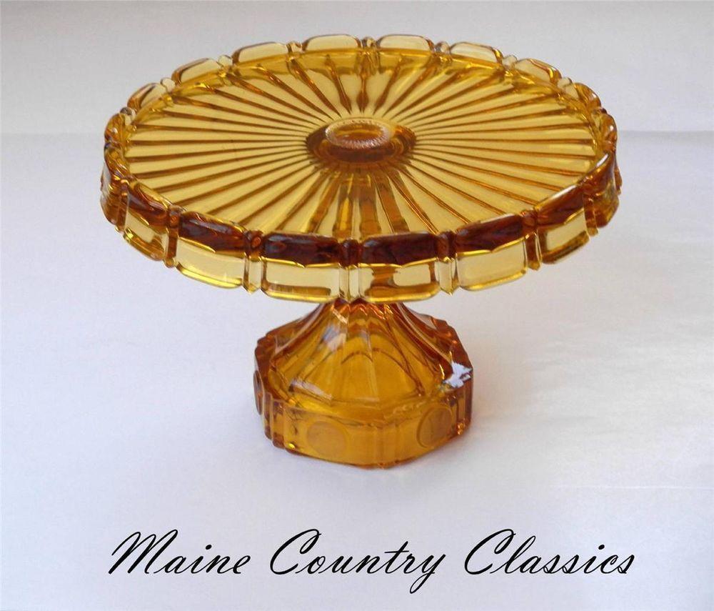 Vintage FOSTORIA COIN PEDESTAL CAKE STAND PLATE Amber Glass