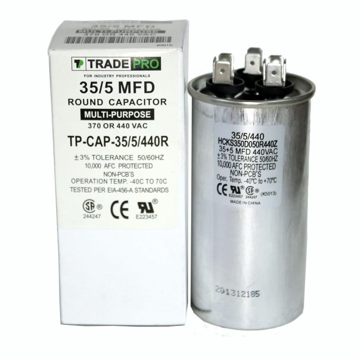 35 5 Mfd 370 Or 440 Round Dual Run Capacitor Tp Cap 35 5 440r Capacitor Electrical Schematic Symbols Heat Pump Air Conditioner