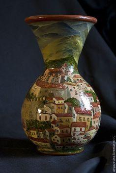 Handmade Pitcher Castiglione di Sicilia - jug, batch, painting, oil painting, Sicily, town