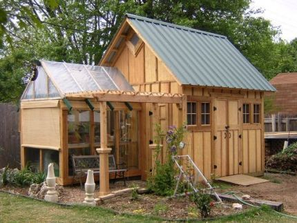 Garden Sheds With Greenhouse garden shed - fine homebuilding greenhouse will need to be bigger