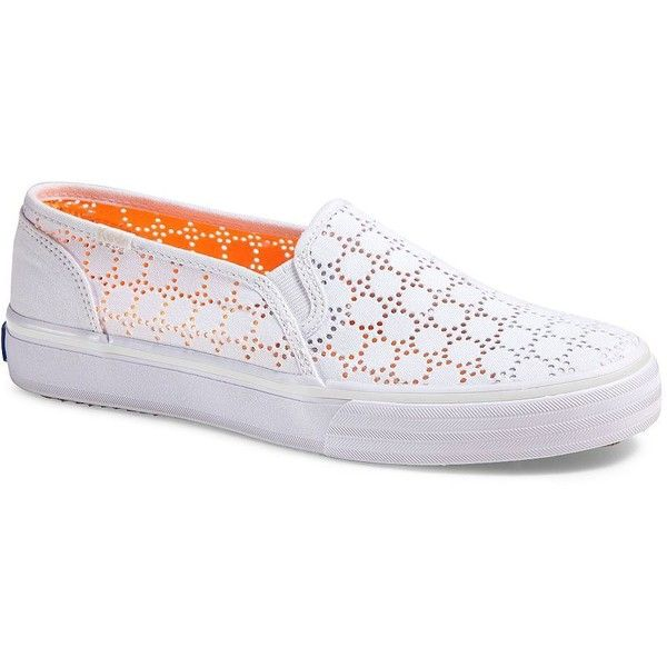 Keds Double Decker Perforated Slip-On Sneakers ($44) ❤ liked on Polyvore featuring shoes, sneakers, white, white trainers, keds shoes, white platform shoes, perforated slip on sneakers and white platform sneakers