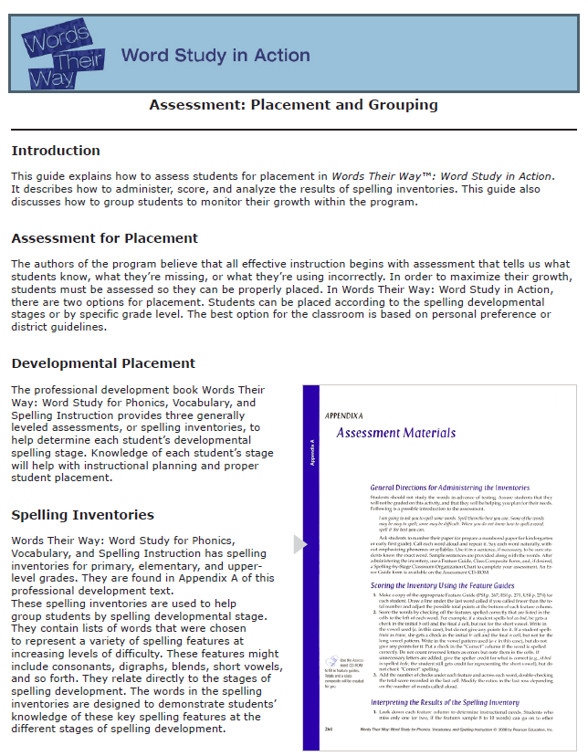 Words their way assessment placement grouping word study teaching reading fandeluxe Gallery