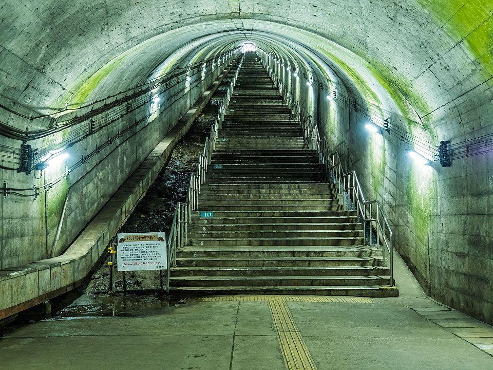 ホームに降りたら462段の階段 日本一のモグラ駅 Triproud 列車の旅 駅 ホーム 美しい風景
