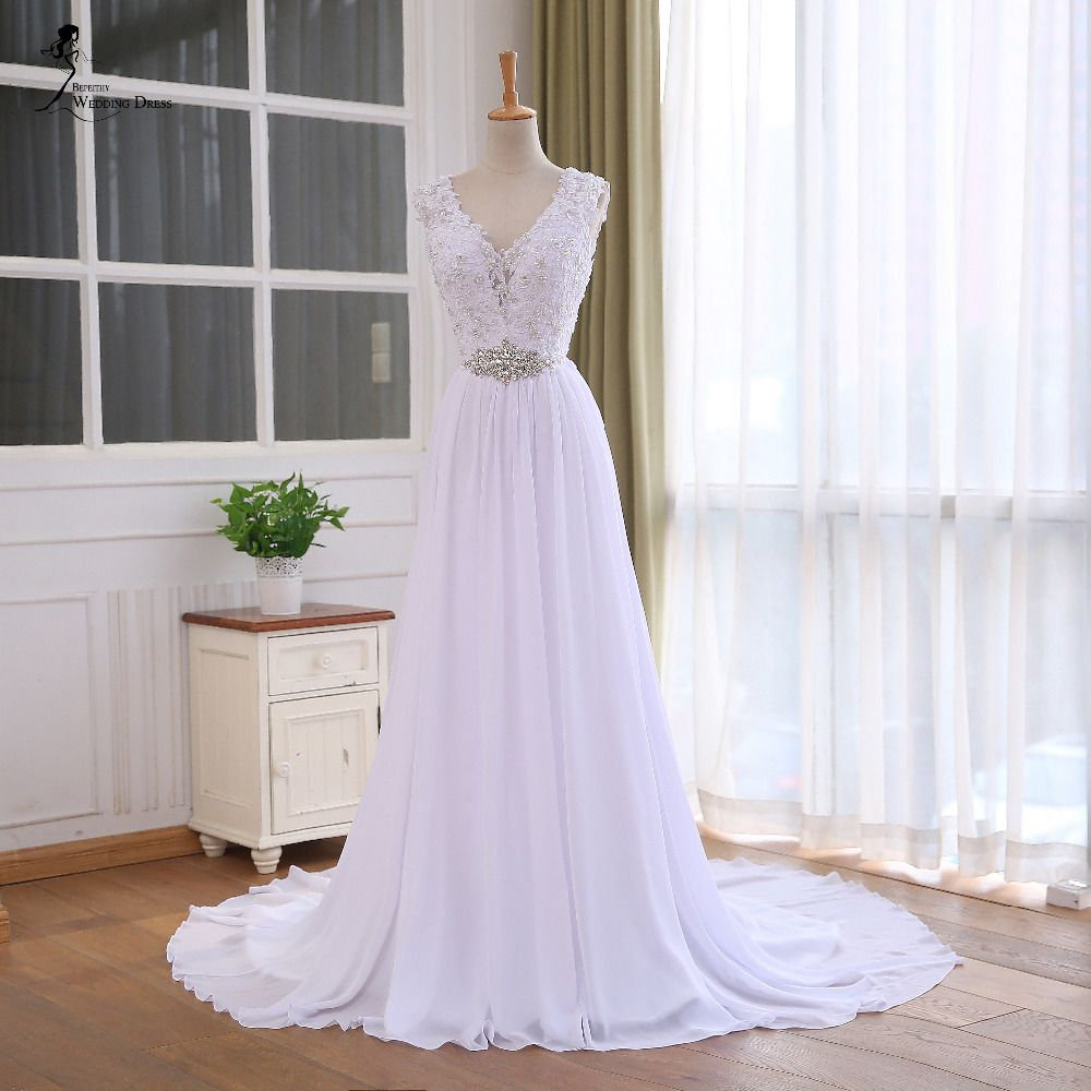 BEPEITHY Lace Top Chiffon Wedding Dress 2016 Vestido De Casamento Crystal Robe De Mariage Cheap Bridal Gowns Vestido De Novia