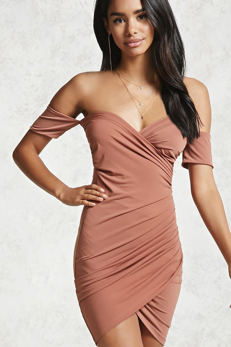 Forever 21 Contemporary - A knit dress featuring an off-the-shoulder ...