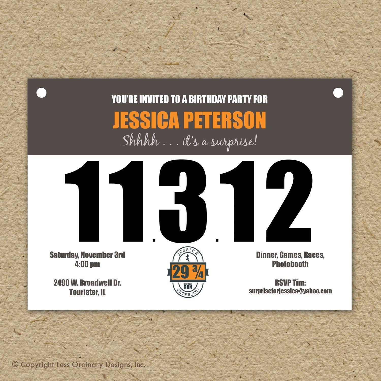 photo relating to Printable Race Bibs Free identify runners bib birthday get together invitation, marathon concept