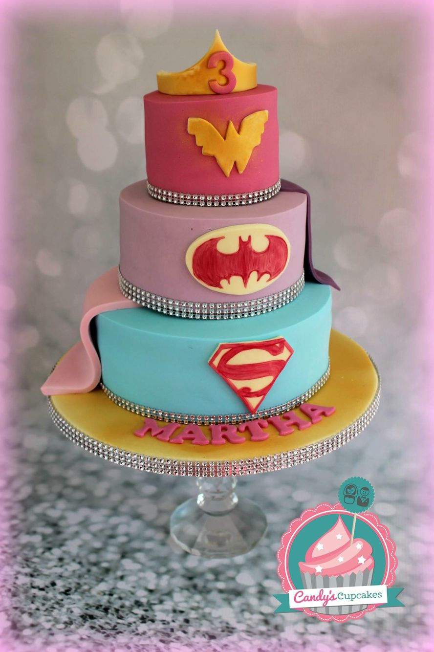 Admirable Girls Superhero Cake Super Girl Bat Girl And Wonder Woman By Funny Birthday Cards Online Aeocydamsfinfo