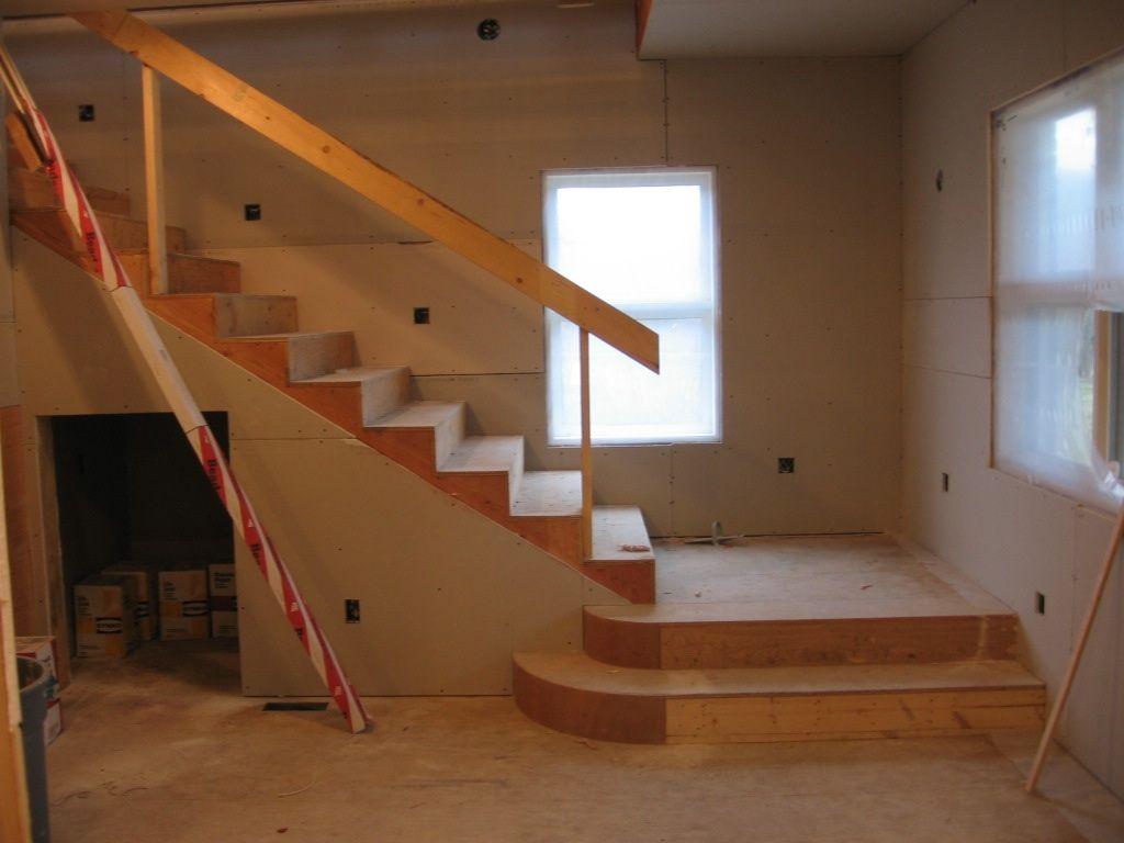Basement Stair Landing Ideas Middle Stairs With This On Each Side | Basement Stairs With Landing | English Basement | Grand Entrance | Spiral | Wood | Hardwood
