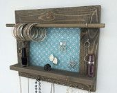 Jewelery holder – Barnwood wall hanging display organizer with shelf – storage for …