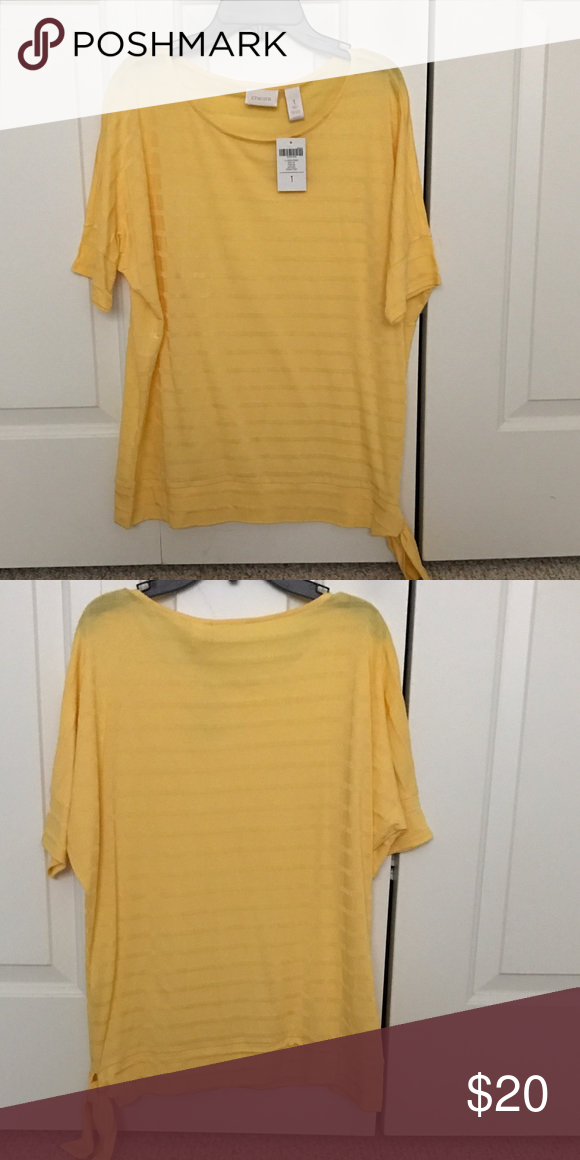 d4aad9dab5a70c Chicos size 1 yellow on yellow striped top with side tie. Smoke free