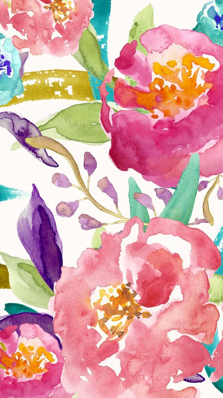 Watercolor iphone wallpaper tumblr - Floral Designed By Bmills Find More Watercolor Android Iphone Wallpapers Prettywallpaper