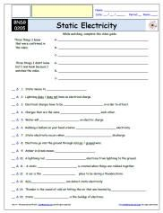 Free Diffeiated Worksheet For The Bill Nye Science Guy Static Electricity Episode Video Guide