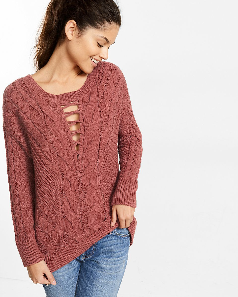 Express on Wondermall - Lace-Up Inset Cable Knit Sweater  b0bbd6784
