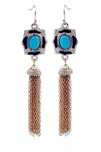Double sided Hematite and gold satin textured shield earrings centered with turquoise centered stone 500E2583