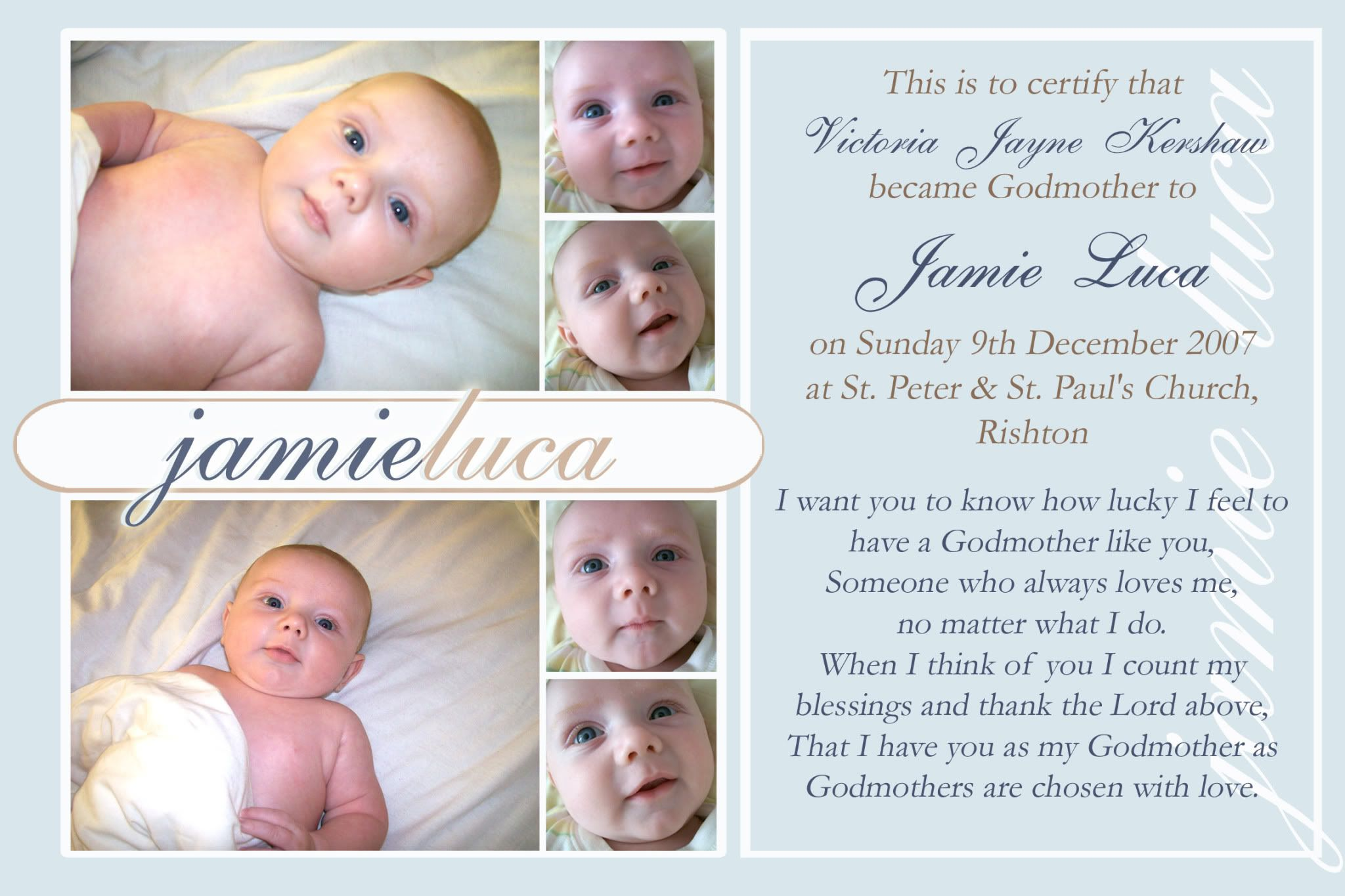 7x5 GODPARENT CERTIFICATE CHRISTENING KEEPSAKE POEM Christening