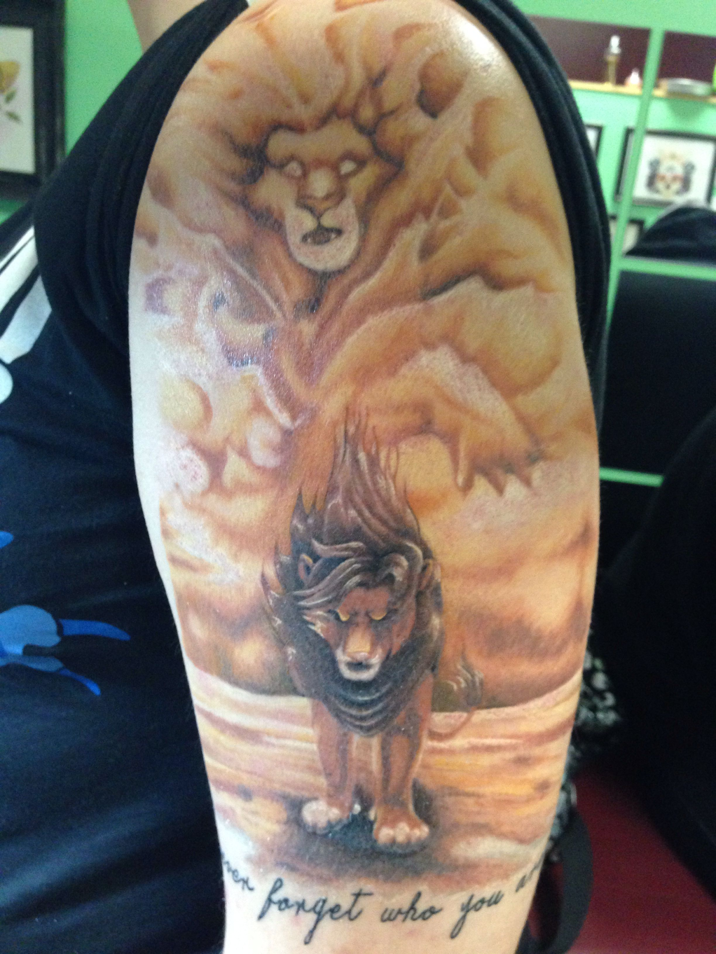 Finished Lion King Half Sleeve Tattooed By Me Stacey Baker At