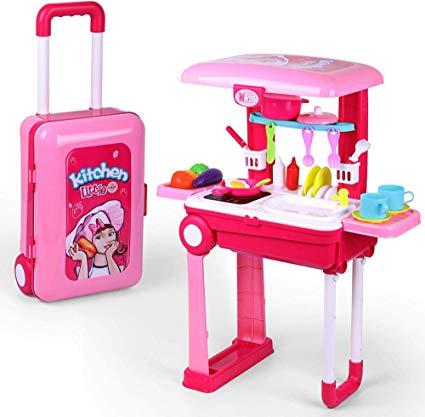 Amazon Com Pretend Play Kitchen Playset For Kids Little Chef Kitchen Set Toy With Accessories Pots Pans Pretend Play Kitchen Cooking Toys Toddler Kitchen