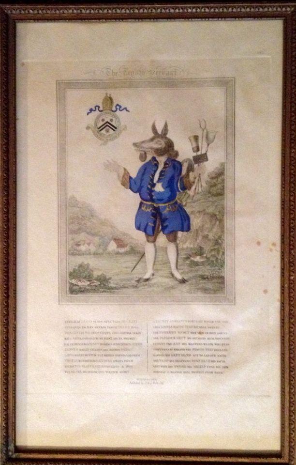"Antique hand colored lithograph - The Trusty Servant. 10 1/2""w x 16""w"