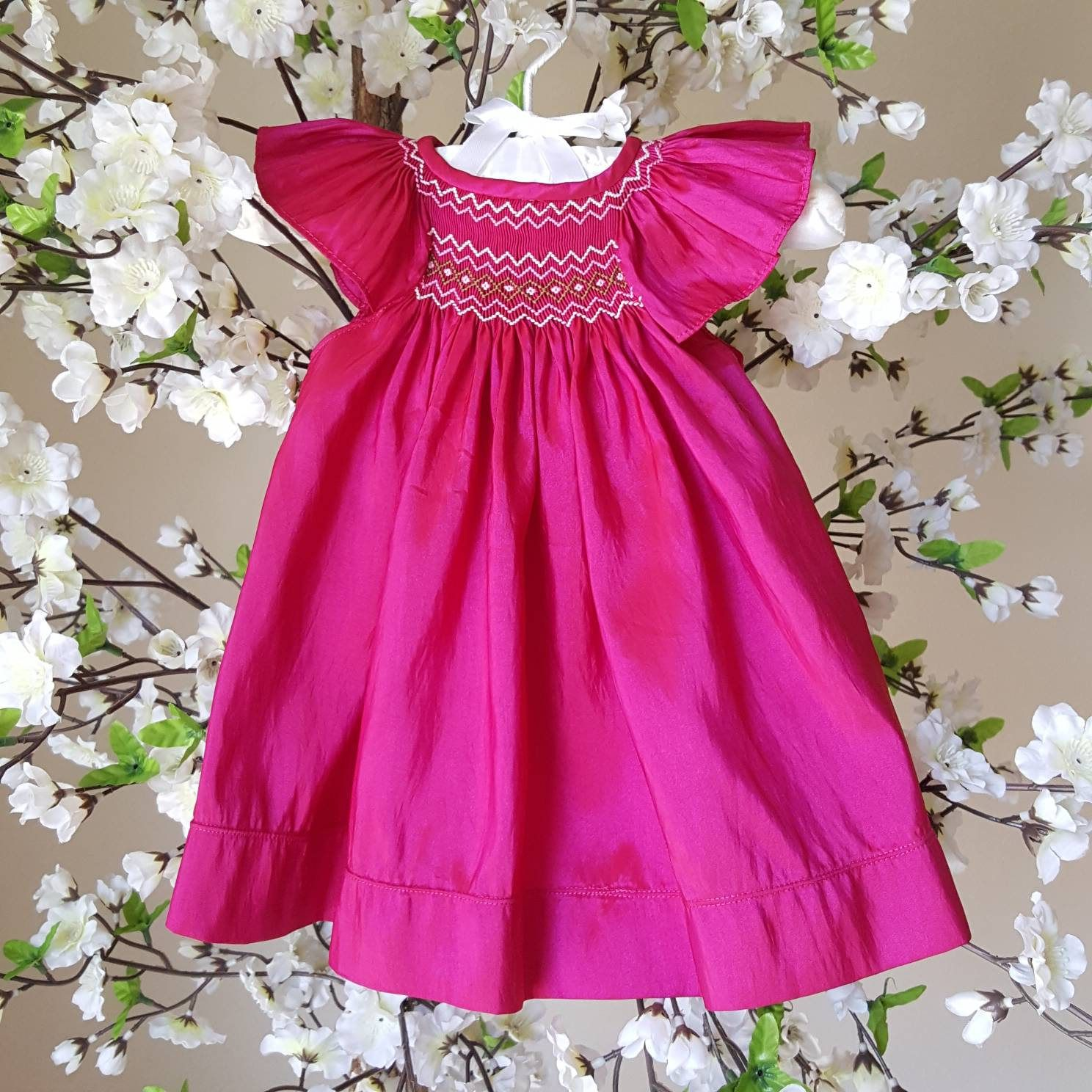 80s Vintage Will\'beth Smocked Fushia Polyester Infant Baby Girl ...