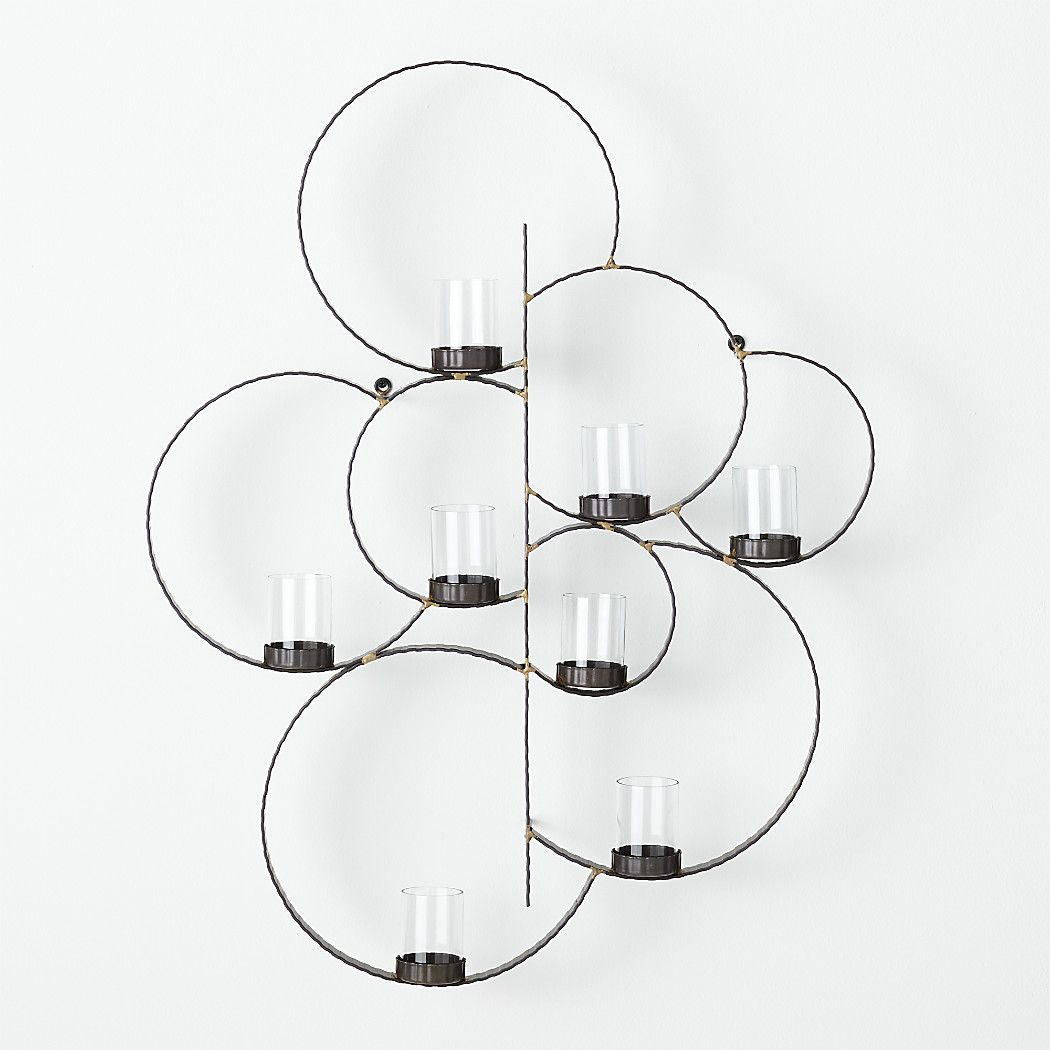 Circle metal wall candle holder crate and barrel mix pinterest