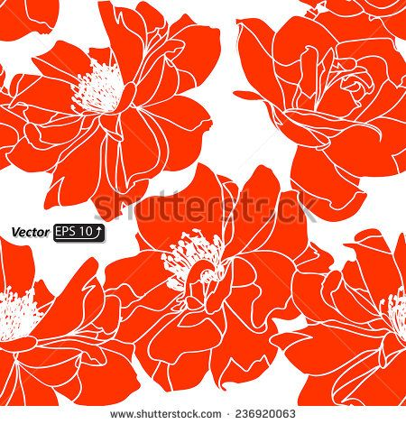 Seamless Monochrome Floral Pattern Red Roses Isolated On A White Background For Your Design Wallpapers Fills Web Page Backgrounds