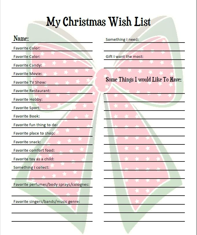 graphic relating to Printable Wish Lists known as Pin upon Xmas!!!