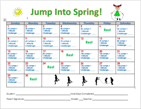 April S Jump Into Spring Fitness Challenge Spring Fitness Challenge Workout Challenge Elementary Pe
