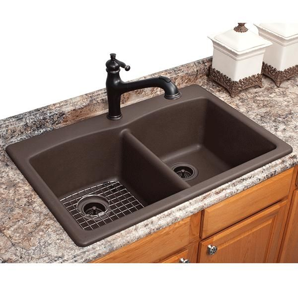 Exceptional FrankeUSA Dual Mount Composite Granite Double Bowl Kitchen Sink In   The  Home Depot