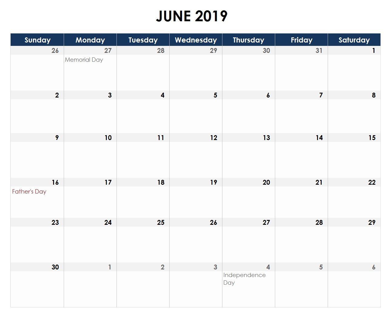 Excel Calendar June 2019 Excel Calendar June 2019 Calendar