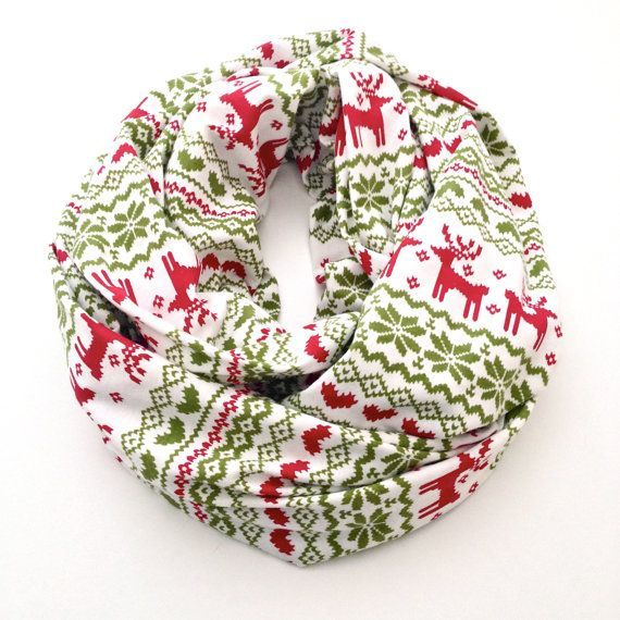 ON SALE*Holiday Fair Isle Infinity Scarf in White, Red and Green ...