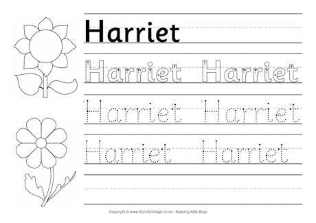 Harriet handwriting worksheet