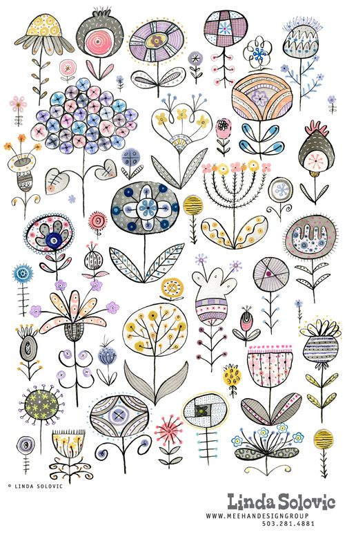 Floral pattern designed by Linda Solovic