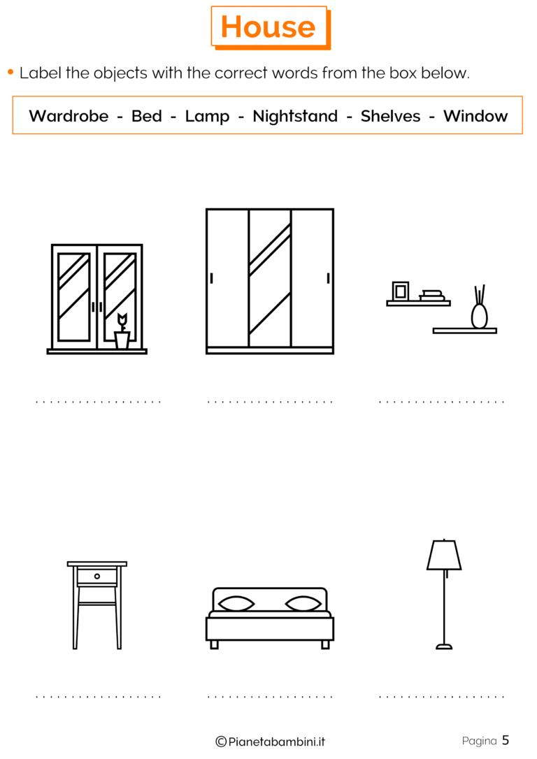 Risultati immagini per esercizi inglese con le 5 w for Nomi di mobili