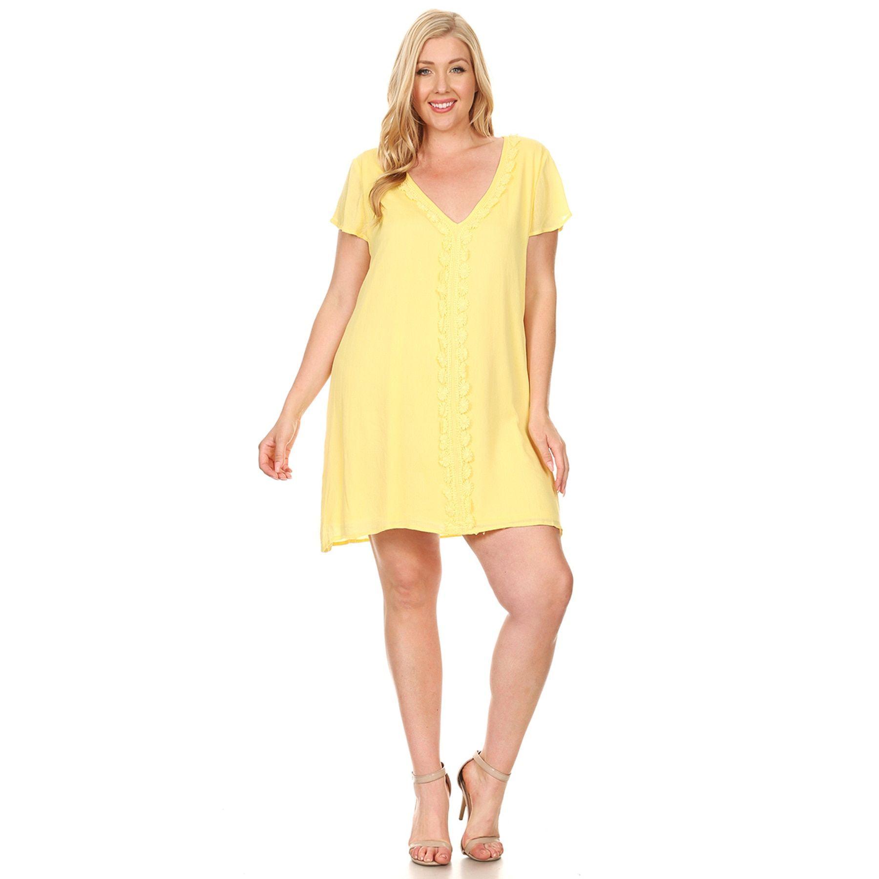 Hadari Xehar Women's Plus Size Sexy Loose Shift Boho Short Dress
