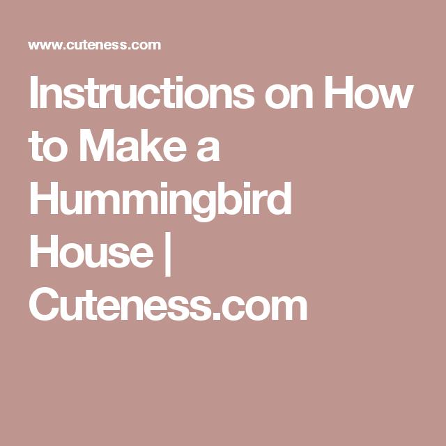 Instructions On How To Make A Hummingbird House Cuteness Com