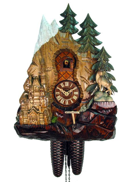 Cuckoo clock from the Black Forest with certificate of authenticity. Neuschwanstein Castle with 8 day movement from the cuckoo clock manufacturer August Schwer.