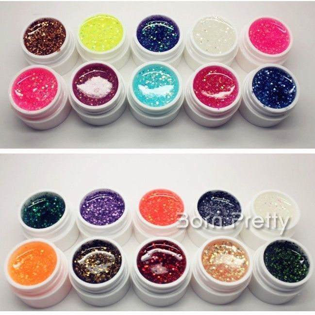 36 Colors Dazzling Glitter Clear UV Builder Gel Nail Art