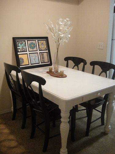 love the white table with black chairs going to have to refinish my rh pinterest cl