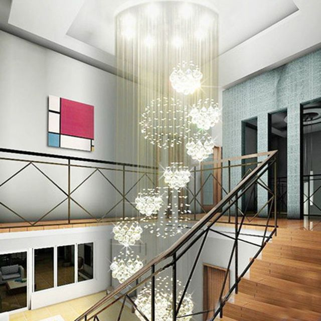 Moderno grande candelabro de cristal fixa o para lobby for Candeeiros exterior modernos