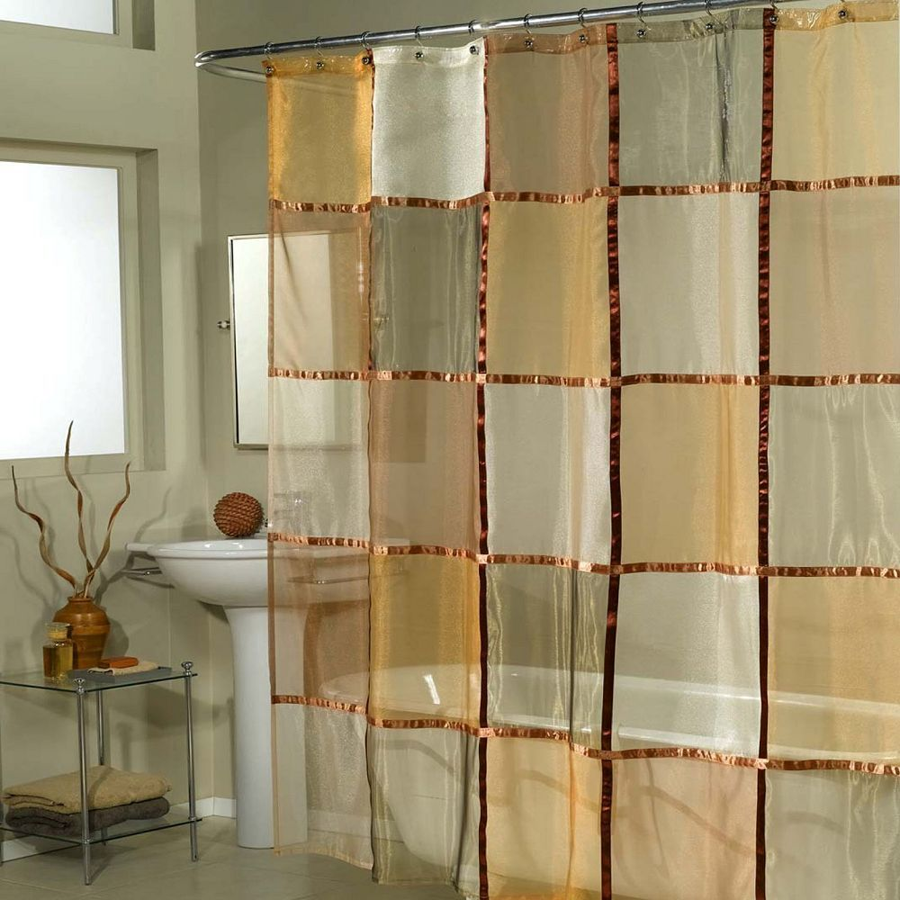 Excell Home Fashions Mosaic Checker Fabric Shower Curtain Fabric