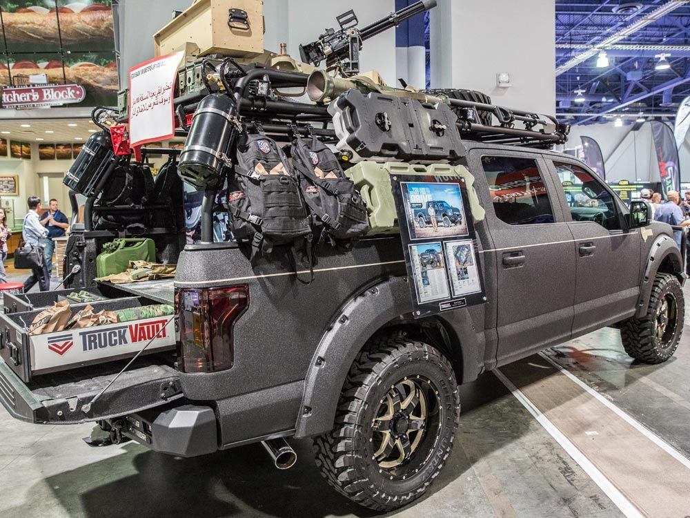 2015 sema f-150 with truck vault and bushwacker fenders and bed