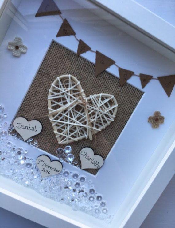 Engagement hessian box frame, photo frame, celebration, wedding gift ...