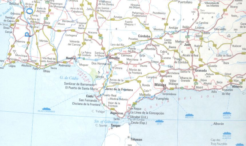 Detailed Map Of Southern Spain.Andulusian Spain Andalucia Map Of Andalucia Costa Del Sol