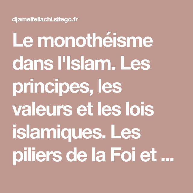 Le Monotheisme Dans L Islam Les Principes Les Valeurs Et Les Lois Islamiques Les Piliers De La Foi Et De L Islam Les Vertus Des Adorations D Al Hadith Islam