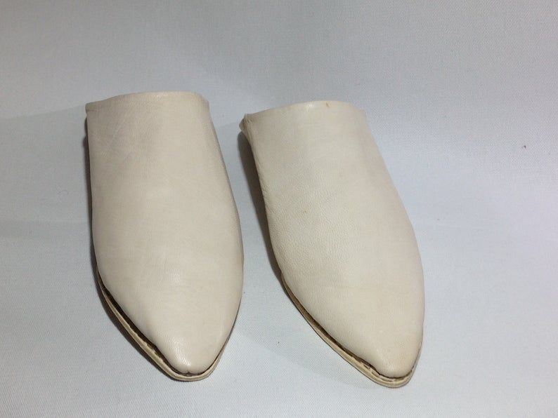 Photo of Naturel leather Slippers Handmade Babouche morrocan slippers Traditional babouche slippers For Women and for Men traditional shoes