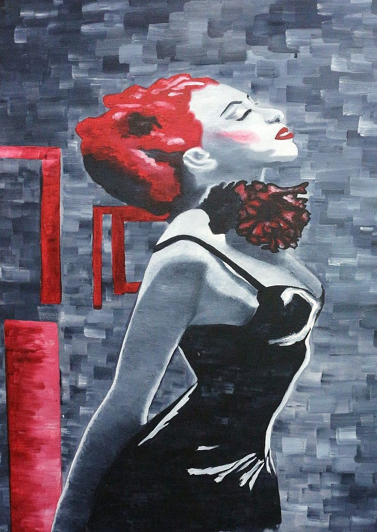 ARTFINDER: RED HAIRED CHICK by Galina Zimmatore - A theme in red, black and bluey grey. For this painting I wanted a young trendy image showing the creativity of teenage fashion and the concept of expressing...