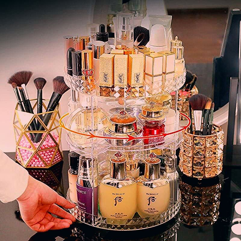 Photo of High Quality 360° Rotating Crystal Cosmetic Storage