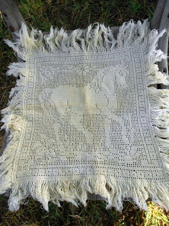 Antique Filet Crochet Horse Doily table scarf by Holliezhobbiez