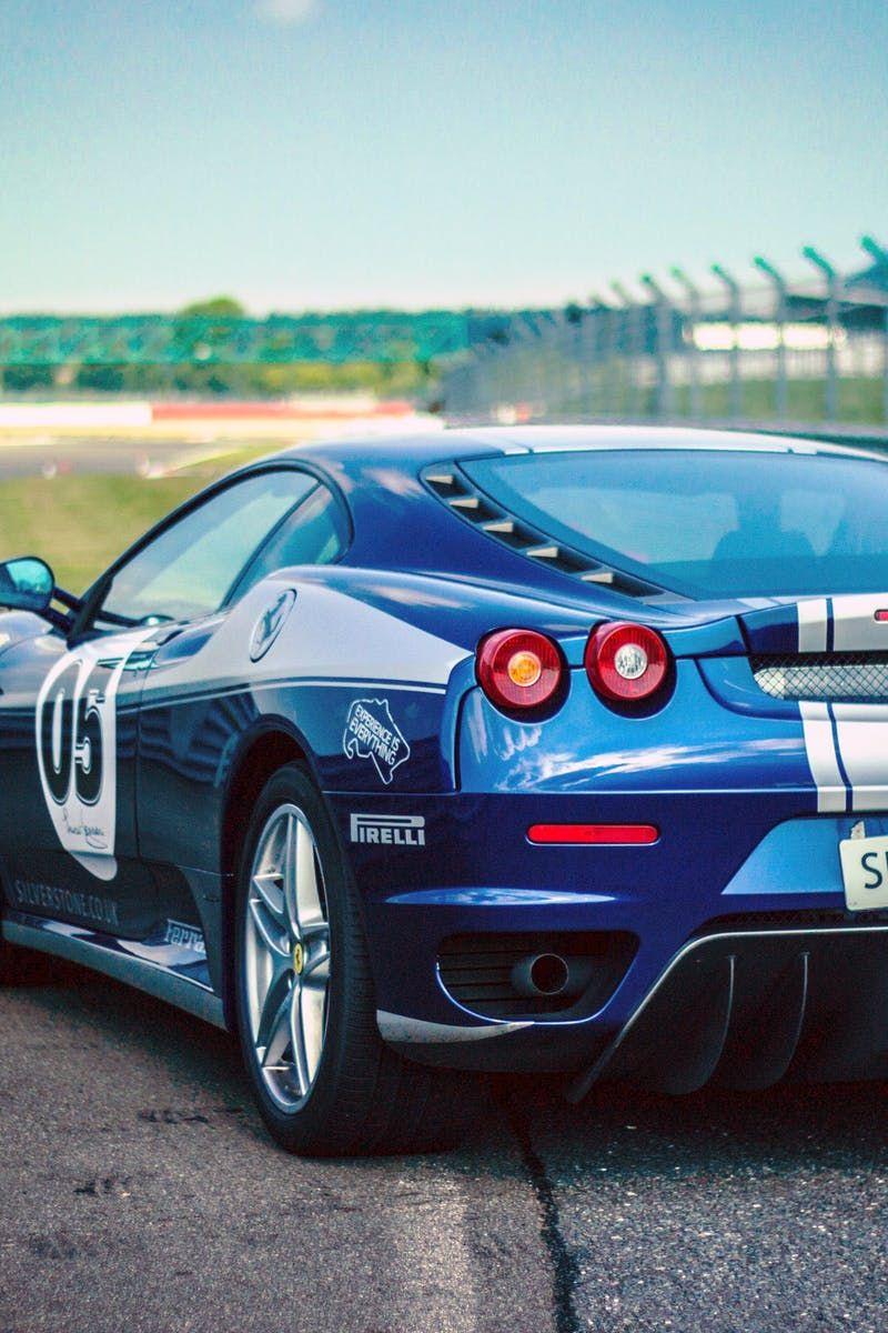 Silverstone Blue Silver Stripe Race Car on Track Classic